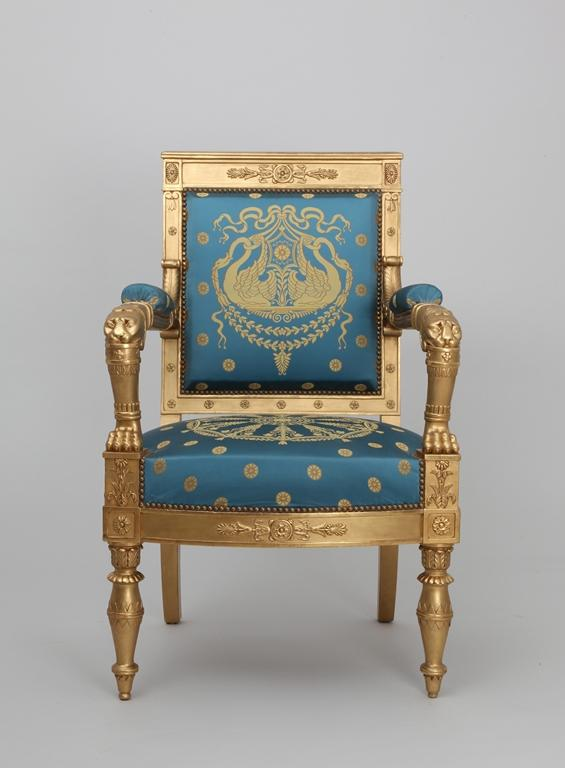 Empire blue and gold armchair